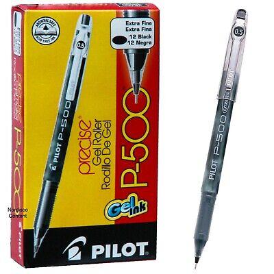 Pilot P500 Extra Fine 38600 Black Ink 0.5mm Precise Gel Roller Pen 12 Pens