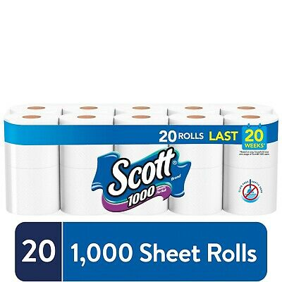 Scott Bath Tissue 20 Rolls, 1000 Sheets Per Roll Toilet Paper, FREE SHIPPING