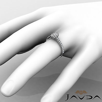 French V Pave Round Natural Diamond Engagement Cathedral Ring GIA E VVS1 0.8 Ct 2