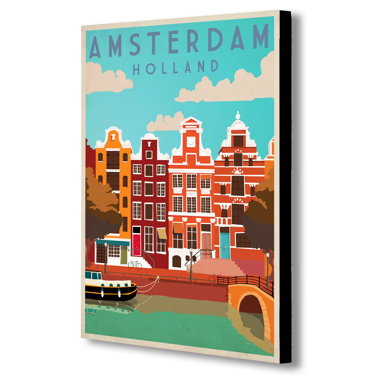 Amsterdam, Holland Retro -Vintage - Canvas Wall Art Framed Print. Various Sizes
