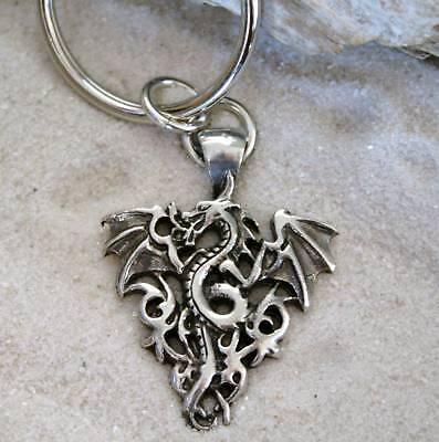 TRIBAL FLAME DRAGON Pewter KEYCHAIN Key Ring