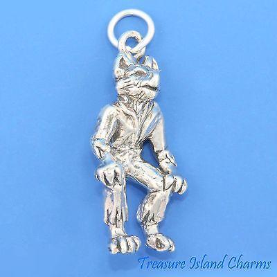 Wolfman Werewolf Halloween 3D 925 Solid Sterling Silver Charm Wolf Man Heavy