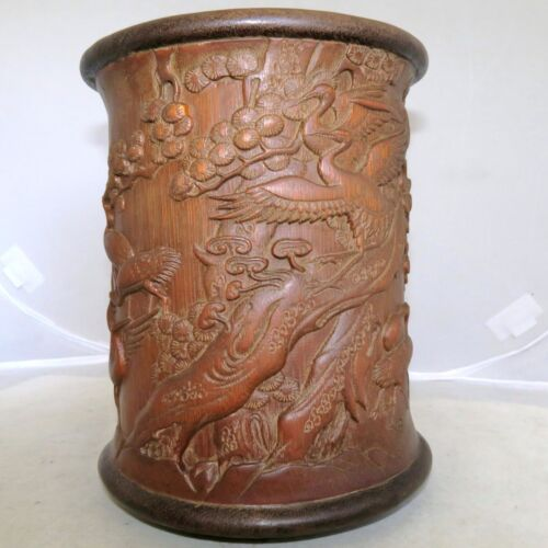 "Vintage ? 6.95"" Chinese Carved Giant Bamboo Brush Pot w/ Crane Birds & Pine Tree"