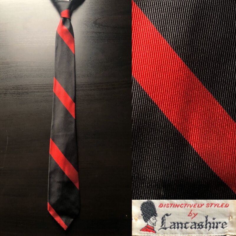 Lancashire Red Striped Black Silk Tie EUC VTG 1950s 1960s Ivy Trad Midcentury
