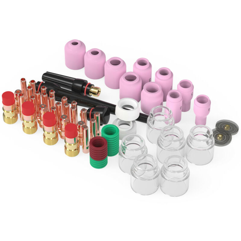71pcs TIG Welding Torch Stubby Gas Lens #12 Pyrex Glass Cup Kit For WP-17/18/26