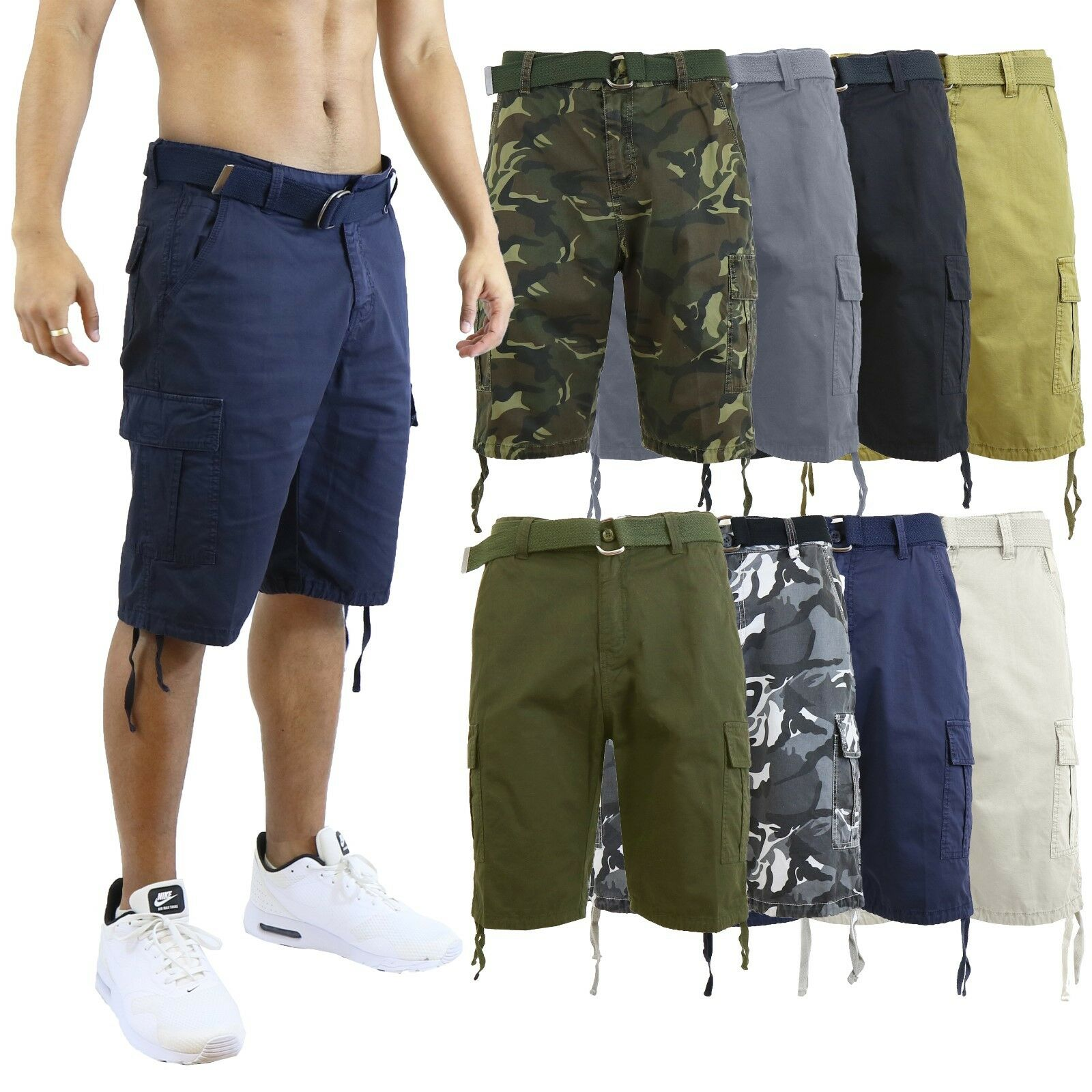 Mens Cargo Shorts Cotton Zip Button Belted Distressed Pockets Slim Fit Lounge Clothing, Shoes & Accessories