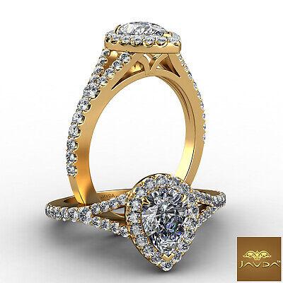Split Shank Halo Prong Setting Pear Diamond Engagement Ring GIA H Color VVS2 1Ct