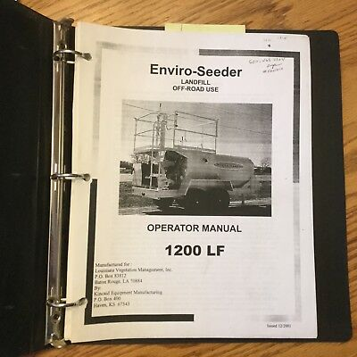 Enviro-seeder 1200lf Hydroseeder Operators Manual Operation Maintenance Guide