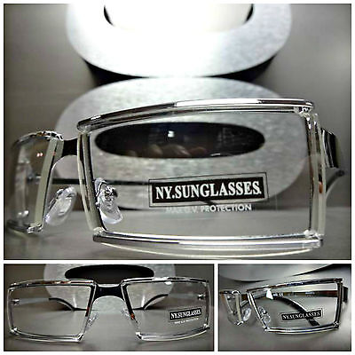 Men's Women UNIQUE CONTEMPORARY MODERN Style Clear Lens EYE GLASSES Silver (Contemporary Glasses Frames)
