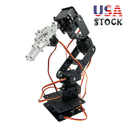 Alu Robot 6 Dof Arm Mechanical Robotic Arm Clamp Claw Mount Kit For Arduino Usa