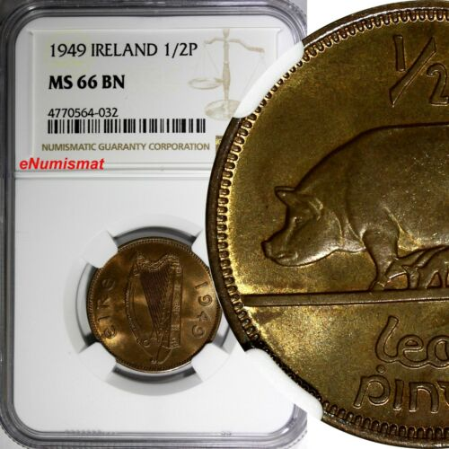 Ireland Republic 1949 1/2 Penny NGC MS66 BN Sow with Piglets TOP GRADED  KM# 10