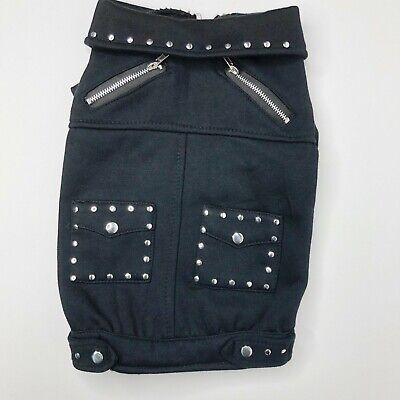 Bret Michaels Costume (Bret Michaels Pets Rock Black Studded Zippered Jacket Dog Costume Medium)