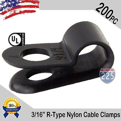 200 Pcs Pack 316 Inch R-type Cable Clamps Nylon Black Hose Wire Electrical Uv