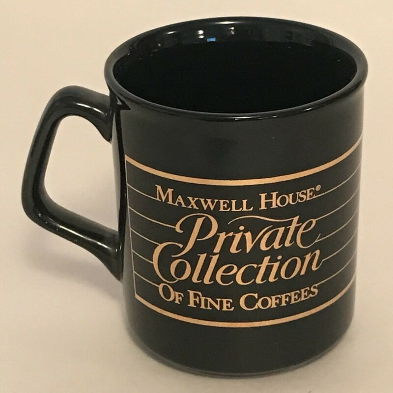 Vtg Maxwell House Private Collection Of Fine Coffee Cup Mugs Black Gold Japan A5