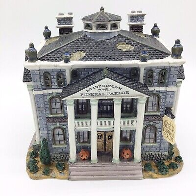 Lemax Spooky Town Shady Hollow Funeral Parlor  Porcelain Lighted House halloween