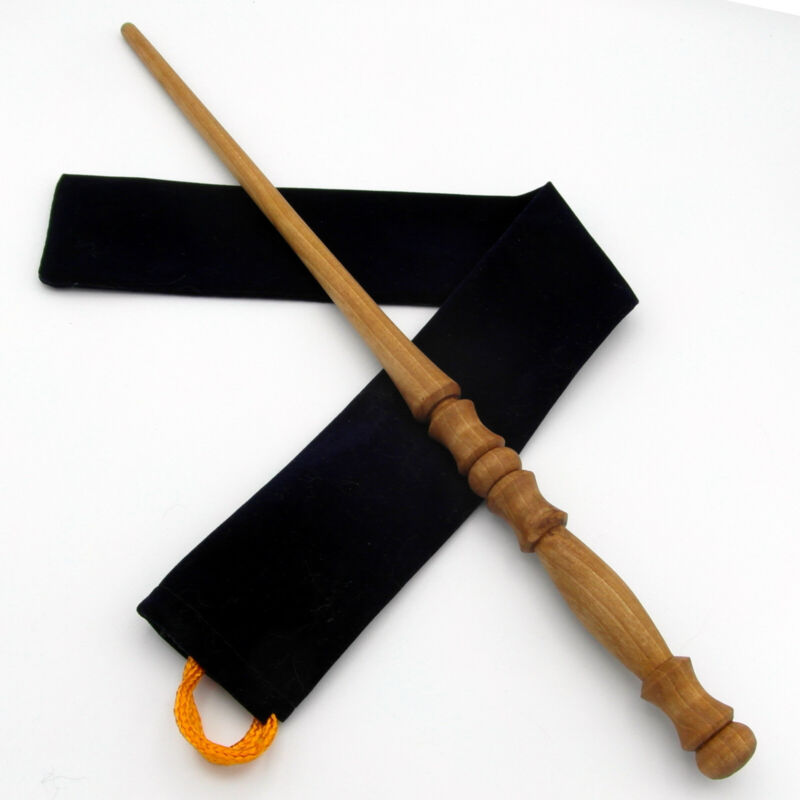 """16"""" Hand Turned Wizards Almond Wood Magic Wand Wicca Pagan w/ Free Velvet Bag"""