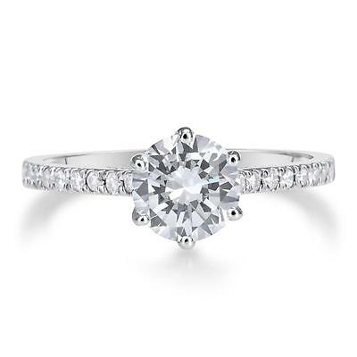 1.5 Ct Round Cut Diamond Engagement Ring SI1/D 14K White Gold