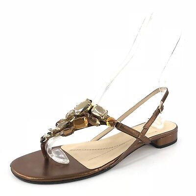 Kate Spade Bronze Leather T Strap Flats Sandals Women's Size 8.5 M $250*