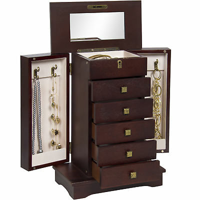 BCP Handcrafted Wooden Tabletop Jewelry Armoire - Brown