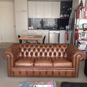 Vintage Moran 3 Seater Leather Chesterfield East Melbourne Melbourne City Preview