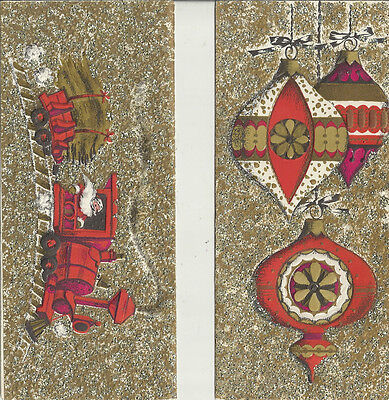 Christmas Holiday Greeting cards (2) by Golden Rhapsody gold glitter 1960's art
