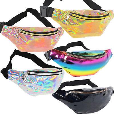 Iridescent Holographic Fanny Pack Shiny Waist Bag Silver Gold Pink Rainbow Black](Rainbow Bag)
