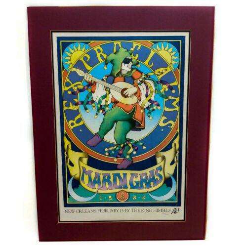 """Vintage 1983 Mardi Gras Signed & Numbered """"Rex Proclaims"""" Poster Artist J Welch"""
