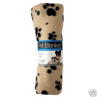 "ULTRA-SOFT FLEECE PAW PRINTS PET BLANKET POLYESTER THROW DOG CAT 60"" x 39"" TAN"