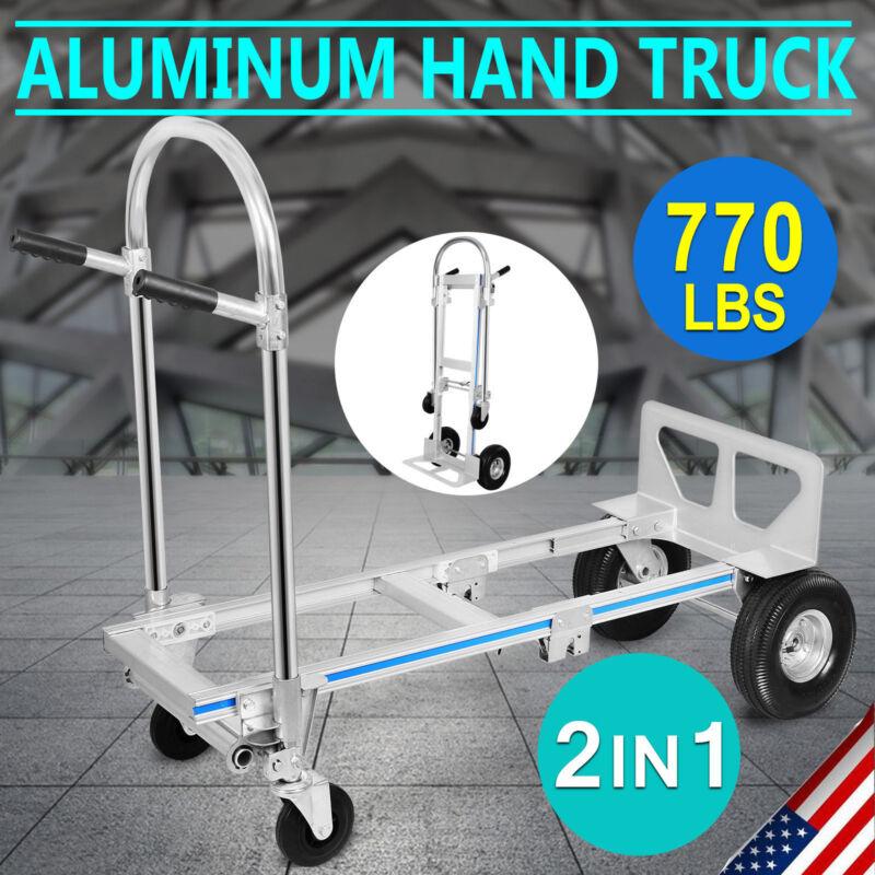 2 in 1 Aluminum Hand Truck Convertible Folding Dolly Platform Cart 770LBS