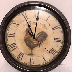 """Vintage Rooster Wall Clock 11"""" Round Roman Numerals Rustic Country Preowned Farm"""