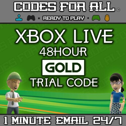 XBOX LIVE 48HR 2 DAYS GOLD TRIAL CODE 48HOUR - INSTANT DISPATCH 24/7