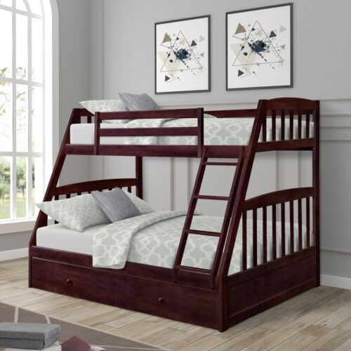 Kids Bunk Bed Twin over Full Solid Wood Wooden Bunk Beds w/S