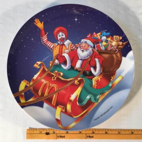 McDonalds  Plate Plastic 1997 Christmas Holiday Ronald And Santa Display Plate