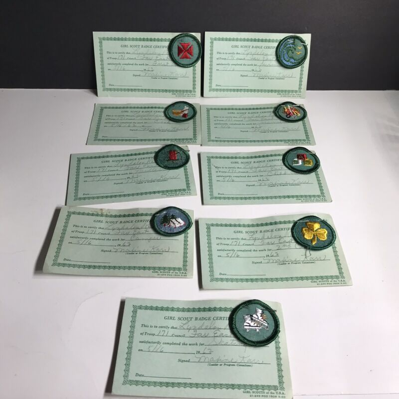 Vtg Lot of 9 Girl Scout JUNIOR Troop Patches Badges w/ Certificates