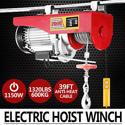 1320lbs Electric Hoist Winch Lifting Engine Crane Lift Hook Brackets Wire Moto