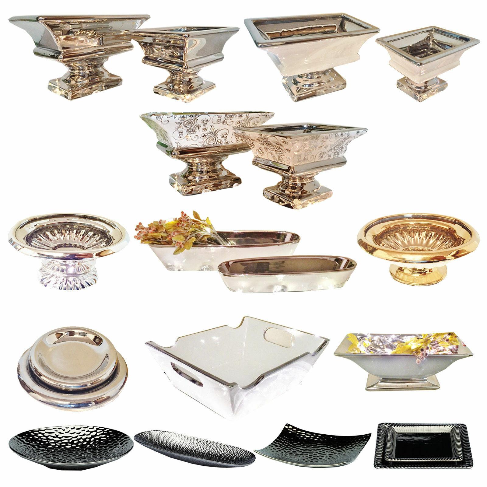 Keramik Dekoschale Schale Silber Tisch Deko Keramikschale Dekoschalen Schalen