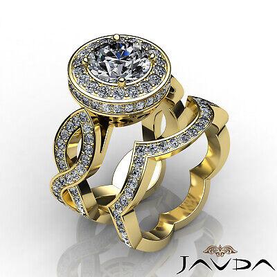 Cross Shank Circa Halo Round Diamond Engagement Pave Set Ring GIA I SI1 2.8 Ct 10