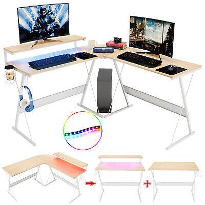 Computer Gaming Desk L-shaped Pc Laptop Table Led Corner Workstation Home Office