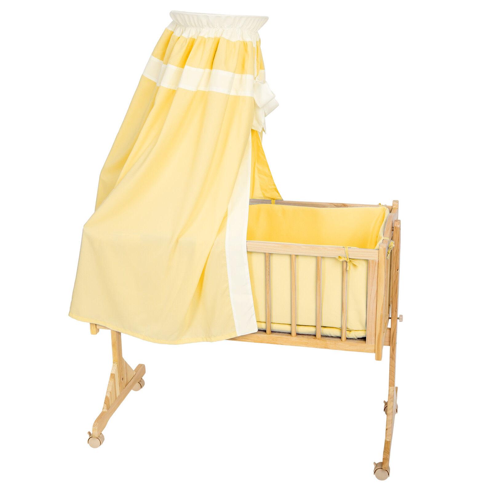 berceau b b lit b b berceau bascule bois ciel de lit jaune eur 214 90 picclick fr. Black Bedroom Furniture Sets. Home Design Ideas