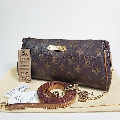 Authentic Louis Vuitton Eva Clutch Monogram M95567 Holding Leather Broken ALA349