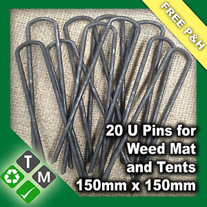20-x-Anchor-Pins-Pegs-for-Weed-Mat-Tent-Pegs-Tarpaulin-Pins-150mm-x-150mm