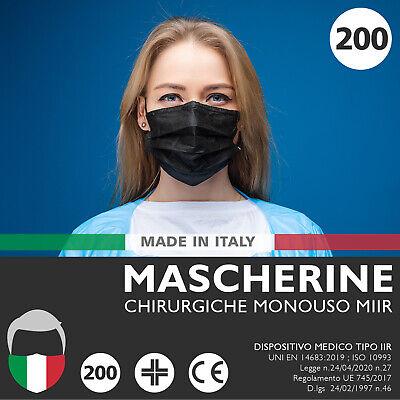 200 Mascherine CHIRURGICHE Nere Mascherina Chirurgica Monouso FILTRANTI 3 Strati