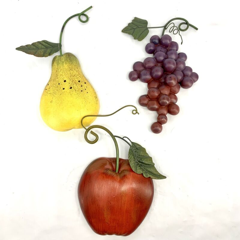 Vintage Home Interiors Wall Plaques Fruit Apple Grapes Pear Farmhouse Country