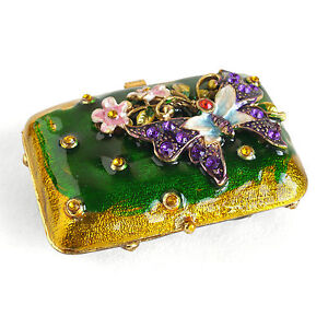 Vintage Rhinestone with Butterfly Trinket Box, Jewelry Box