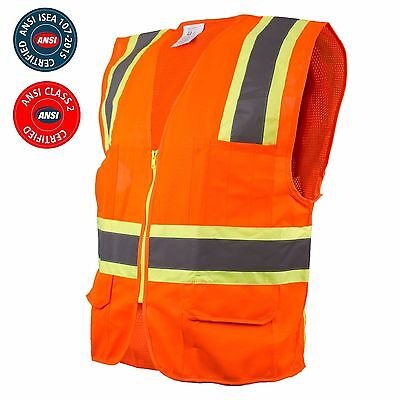 Class 2 Two Tone High Visibility Safety Vest W Reflective Strips Pockets-98112