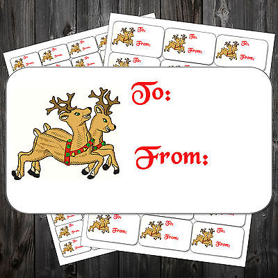CHRISTMAS STICKY LABELS REINDEER TO FROM STICKERS WRAPPING #aho ()