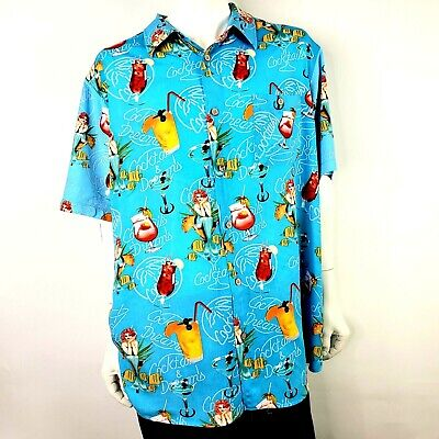 Junction West Mens Cocktails and Dreams Hawaiian Mermaids Shirt XXL