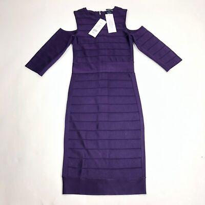 $228 French Connection Dress Spotlight Story Knit Cold Shoulder Bandage - Purple Spotlight