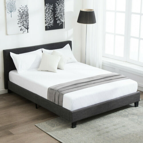 Full Size Bed Frame Upholstered Platform Linen with Wood Sla