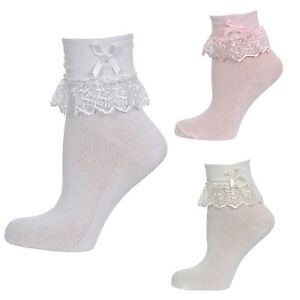 BABY GIRLS FRILLY LACE PEARL BEAD TRIM COTTON ANKLE PARTY